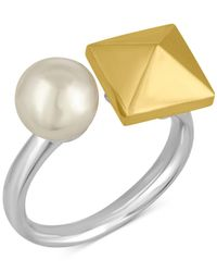 Majorica | Metallic Two-tone Imitation Pearl And Pyramid Statement Ring | Lyst