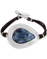 Robert Lee Morris | Metallic Silver-tone Blue Stone Black Leather Toggle Bracelet | Lyst