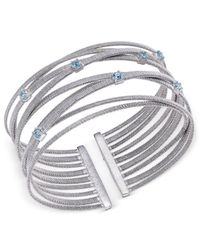 Macy's   Swiss Blue Topaz Multi-row Cuff Bracelet (3/4 Ct. T.w.) In Sterling Silver   Lyst