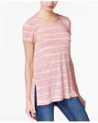 Kensie | Pink Speckled-stripe High-low T-shirt | Lyst