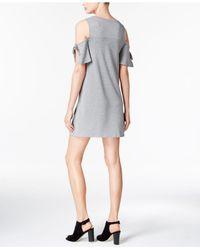 Kensie - Gray Draped Cold-shoulder Shift Dress - Lyst