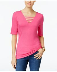 INC International Concepts | Pink V-neck Cutout Top | Lyst