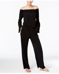 INC International Concepts | Black Petite Off-the-shoulder Wide-leg Jumpsuit | Lyst
