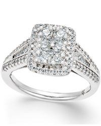 Macy's | Metallic Diamond Square Cluster Engagement Ring (1 Ct. T.w.) In 14k White Gold | Lyst