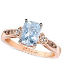 Le Vian | Blue Aquamarine (1-1/6 Ct. T.w.) And Diamond Accent Ring In 14k Rose Gold | Lyst