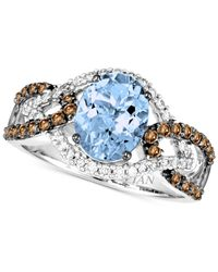Le Vian | Blue Aquamarine (1-3/8 Ct. T.w.) And Diamond (1/2 Ct. T.w.) Ring In 14k White Gold | Lyst