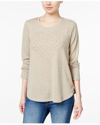 Style & Co. | Natural Stud-heart Pleated Top | Lyst