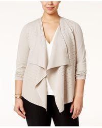 Alfani | Natural Plus Size Draped Open-front Cardigan | Lyst