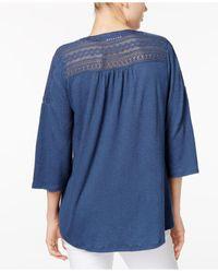 Style & Co. - Blue Petite Crochet-detail Bell-sleeve Top - Lyst