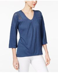 Style & Co. | Blue Petite Crochet-detail Bell-sleeve Top | Lyst