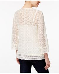 Style & Co. - White Bell-sleeve Lace Top - Lyst