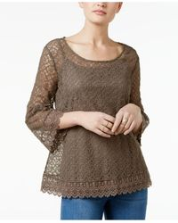 Style & Co.   Multicolor Bell-sleeve Lace Top   Lyst