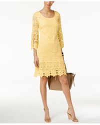 Alfani | Yellow Crochet-trim Illusion Dress | Lyst