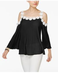 INC International Concepts - Black Daisy-trim Peasant Top - Lyst