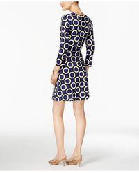 INC International Concepts | Blue Printed Wrap Dress | Lyst