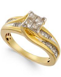Macy's - Metallic Diamond Quad-head Swirl Ring (1 Ct. T.w.) In 14k Gold - Lyst