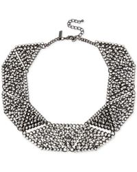 INC International Concepts | Gray Hematite-tone Metallic Pavé Geometric Statement Necklace | Lyst