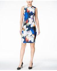 Calvin Klein Blue Blurred Floral-print Scuba Sheath Dress