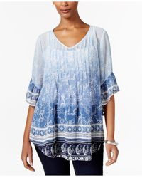 Style & Co. | Blue Petite Mixed-print Pintucked Blouse | Lyst