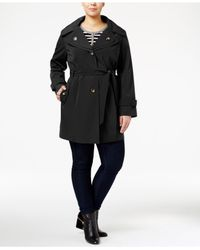 London Fog | Black Plus Size Hooded Double-collar Trench Coat | Lyst