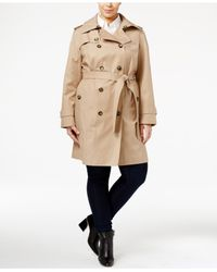 London Fog | Natural Plus Size Hooded Trench Coat | Lyst