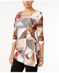 Alfani | Multicolor Petite Printed Asymmetrical Hardware Top | Lyst