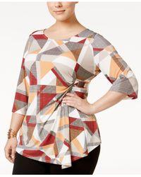Alfani | Multicolor Plus Size Printed Faux-wrap Top | Lyst