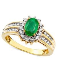 Macy's   Green Emerald (3/4 Ct. T.w.) And Diamond (3/8 Ct. T.w.) Ring In 14k Gold   Lyst
