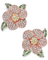 Joan Boyce - Multicolor Tri-tone Green & Clear Pavé Flower Stud Earrings - Lyst