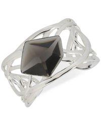 Robert Lee Morris | Metallic Silver-tone Black Stone Sculptural Cuff Bracelet | Lyst
