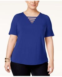 INC International Concepts | Blue Plus Size Strappy V-neck Top | Lyst