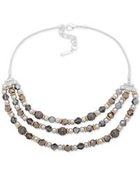 "Nine West - Metallic Tri-tone Bead Layered Statement Necklace, 16"" + 2"" Extender - Lyst"