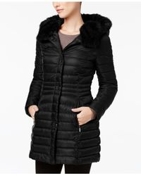 Laundry by Shelli Segal - Black Faux-fur-trim Iridescent Down Coat - Lyst