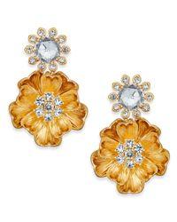 Kate Spade - Metallic 14k Gold-plated Crystal Cluster Poppy Drop Earrings - Lyst