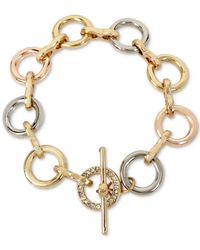 Kenneth Cole - Metallic Tri-tone Pavé Link Toggle Bracelet - Lyst