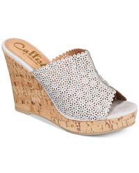 Callisto   Gray Lovie Embellished Wedge Sandals   Lyst