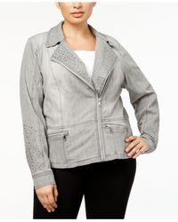 INC International Concepts - Gray Plus Size Studded Moto Jacket - Lyst