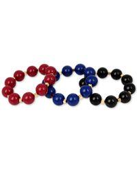 INC International Concepts - Blue Gold-tone 3-pc Set Large Beaded Stretch Bracelets - Lyst