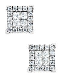 Macy's Metallic Square Diamond Stud Earrings (1 Ct. T.w.) In 14k White Gold