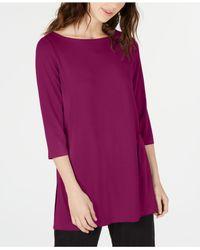 Eileen Fisher - Purple Boat-neck Vented-hem Tm Top, Regular & Petite - Lyst