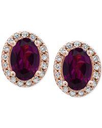 Effy Collection - Metallic Rhodolite Garnet (1-1/10 Ct. T.w.) And Diamond (1/8 Ct. T.w.) Stud Earrings In 14k Rose Gold - Lyst