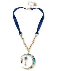 Betsey Johnson - Celestial Blue Moon Pendant Necklace - Lyst
