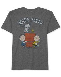 Hybrid | Gray Men's Snoopy Graphic-print Cotton T-shirt for Men | Lyst