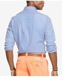 Polo Ralph Lauren - Blue Striped Poplin Shirt for Men - Lyst