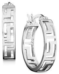 Giani Bernini | Metallic Sterling Silver Earrings, Greek Key Hoop | Lyst