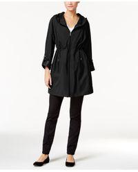 Style & Co. | Black Hooded Rain Coat | Lyst