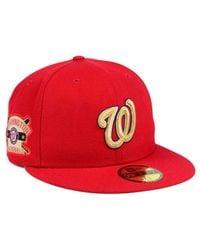 sale retailer 6901d 67ebb Men s Red Washington Nationals Exclusive Gold Patch 59fifty Cap