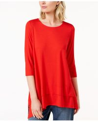 Eileen Fisher - Red Stretch Jersey 3/4-sleeve Top, Created For Macy's - Lyst