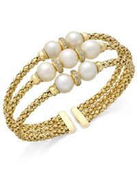 Macy's - Metallic Cultured Freshwater Pearl (7-9mm) & Cubic Zirconia Openwork Bangle Bracelet In 14k Gold-plated Sterling Silver - Lyst