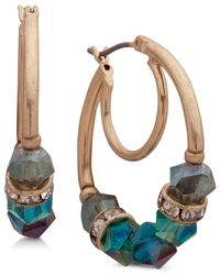 Lonna & Lilly - Green Gold-tone Pavé Beaded Hoop Earrings - Lyst